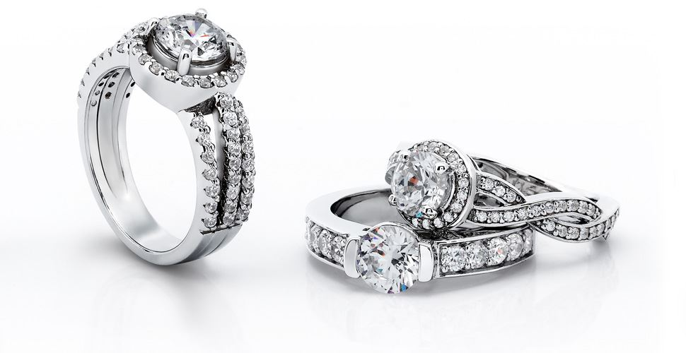 engagement ring on white background styles
