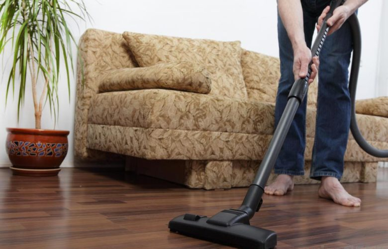 Vacuum suction cleaning hardwood floor