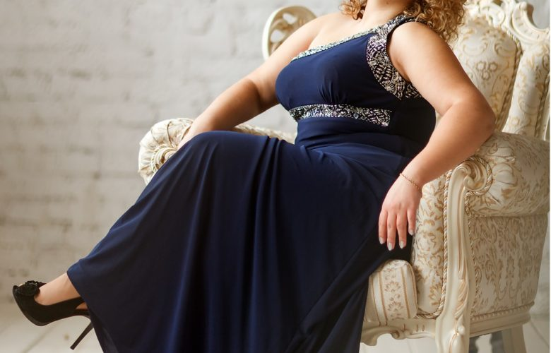 Plus Size Dresses For Women navy blue gown