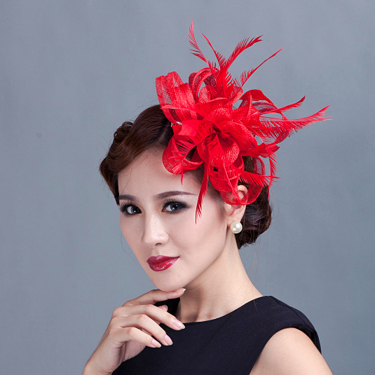 Dramatic Red Fascinator Varieties woman